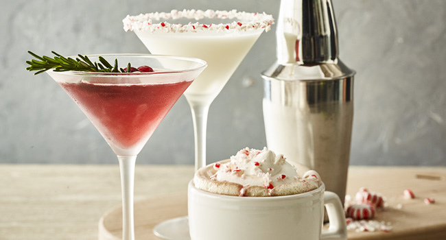 PEPPERMINT FROST MARTINI, WINTERBERRY KISS, PEPPERMINT HOT CHOCOLATE